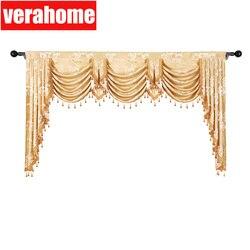 Европейский балдахин Королевский пелмет Роскошные жаккардовые окна затемненные балдахин шторы для гостиной спальни
