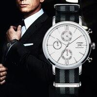 SINOBI Moda Militar Chronograph Mens Relógios Cinta NATO Nylon Pulseira Top de Luxo Da Marca Homens relógio de Quartzo Relógio de James Bond 007