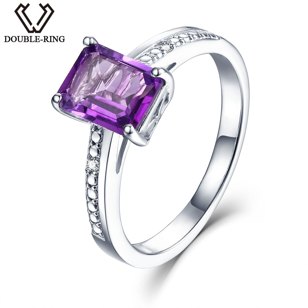 DOUBLE-R Natural Diamond Women Ring 1.6ct Purple Amethyst Gemstone Rings 925 Silver Brand Diamond Jewelry Gift For Female