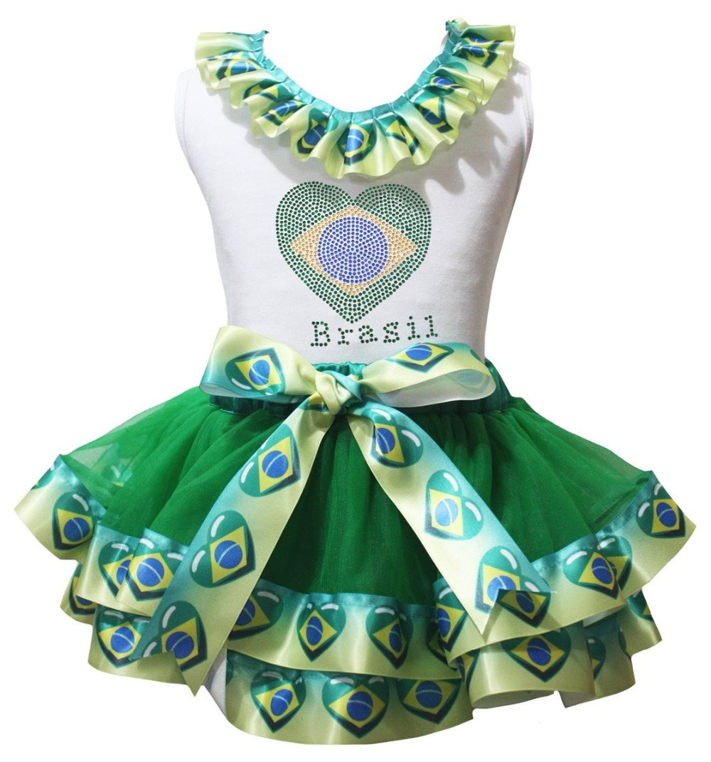 Soccer Football World Cup Dress Brazil Spain England Germany Flag Heart White Shirt Petal Skirt Girl Outfit Nb-8y LKPO0075 reed krakoff юбка до колена