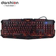 LED клавиатуры 3-Цвет клавиатуры Keyboard Switch подсветкой USB Проводная Игровые ПК / ноутбука русский и английский клавиатуры Игровая освещенная клавиатура привело клавиатура с подсветкой