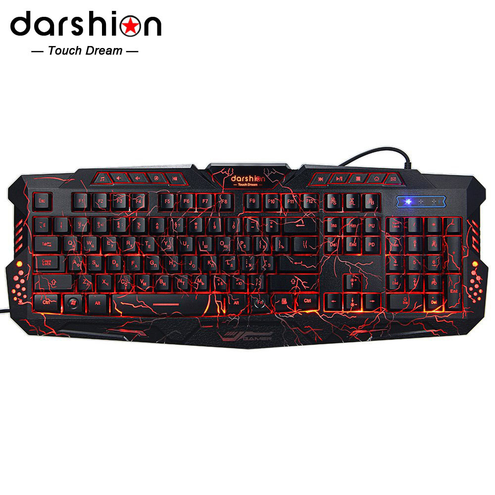 Darshin M300 Russian/English Backlit Keyboard LED 3-Color USB Wired Colorful Breathing Waterproof Computer Crack Gaming Keyboard russian english game keyboard usb wired rgb backlit keyboard 3 color switchable led light for laptop computer gamer