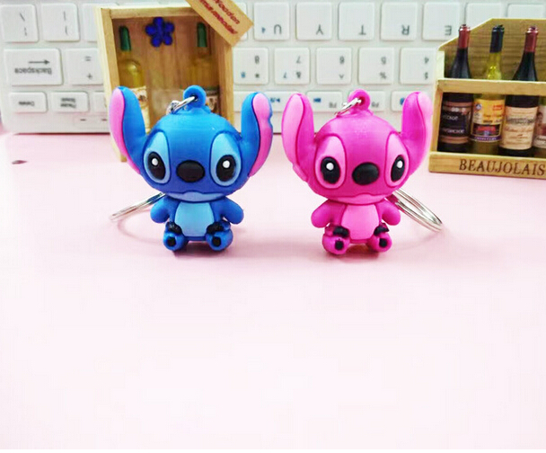 mix 100 pcs Cartoon Stitch PVC Double Sided Keychain Mini Figure Pendants Charms Collection Toy Key