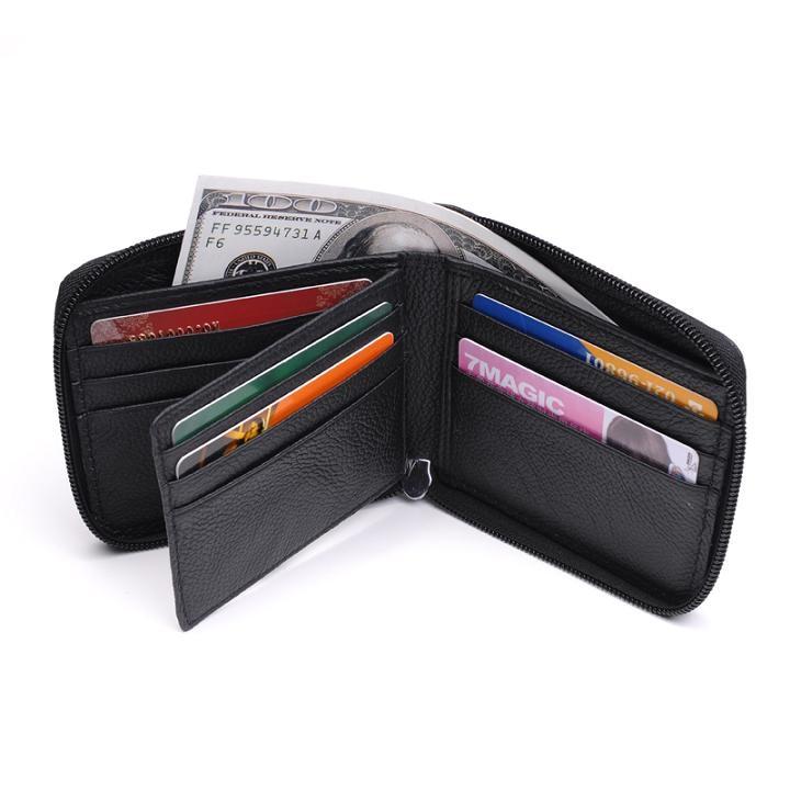 MRF9 модный мужской кошелек на молнии RFID Блокировка ID кредитный держатель для карт Топ Зерно натуральная коровья кожа мужской кошелек с карманом - Цвет: black