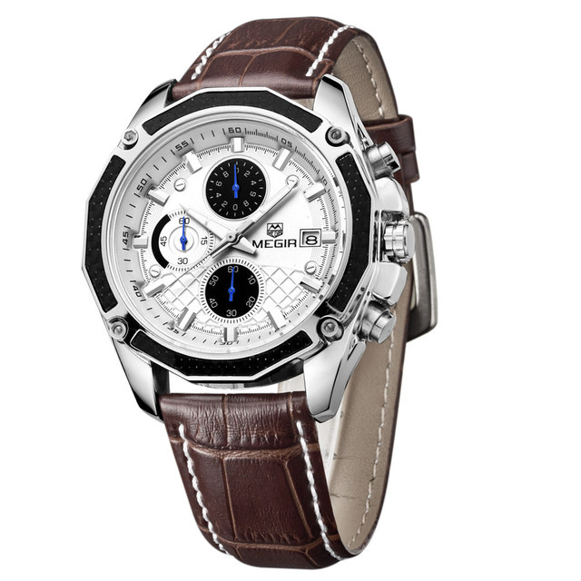 Genuine MEGIR quartz male watches Genuine Leather watches racing men Students game Run Chronograph Watch male glow hands