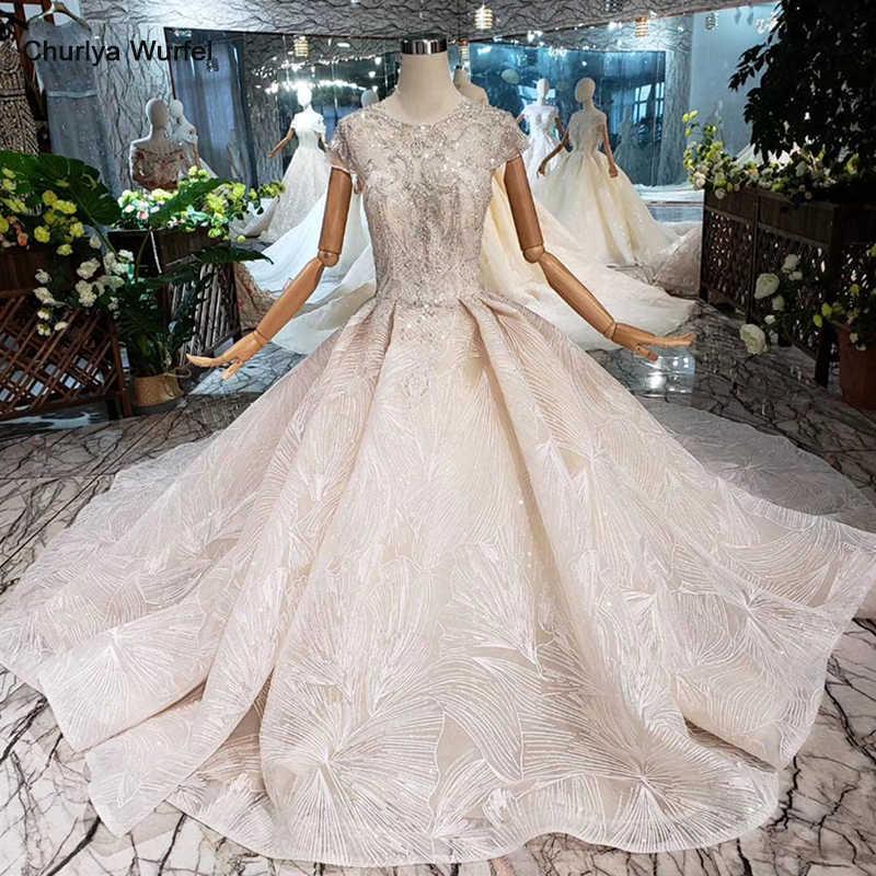 LS20336 artesanal grânulos de cristal Do Vestido de Casamento 2019 abrir voltar o pescoço da luva do tampão vestido nupcial do vestido de casamento com trem Trouwjurk