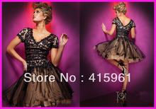 Hot Sell Short Sleeve Beads Appliques Ball Gown Party Dress Prom Dresses Tulle E836