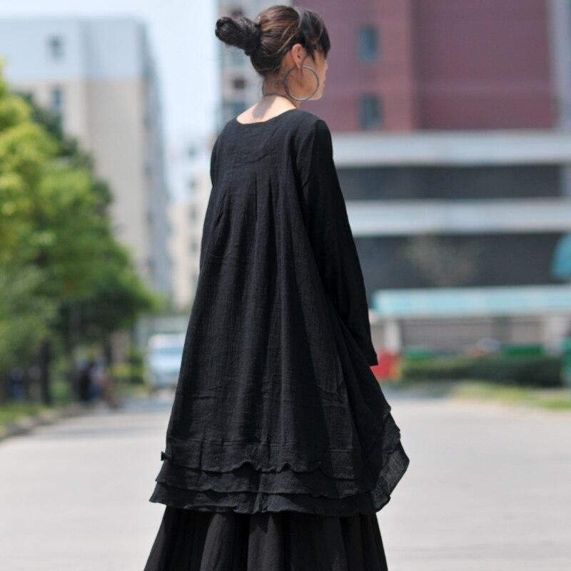 European Style Loose Cotton Linen Dress Plus Size Long ...