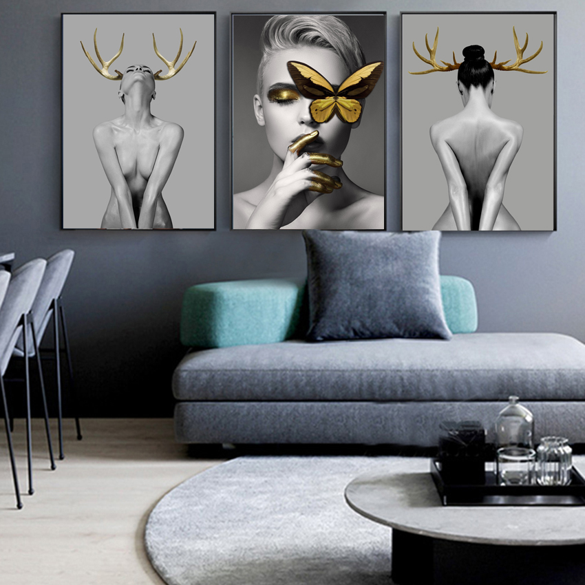 Butterfly Feather Girl Oil Painting Awakening Canvas Poster Print Nordic Decoration Wall Picture for Living Room Modern