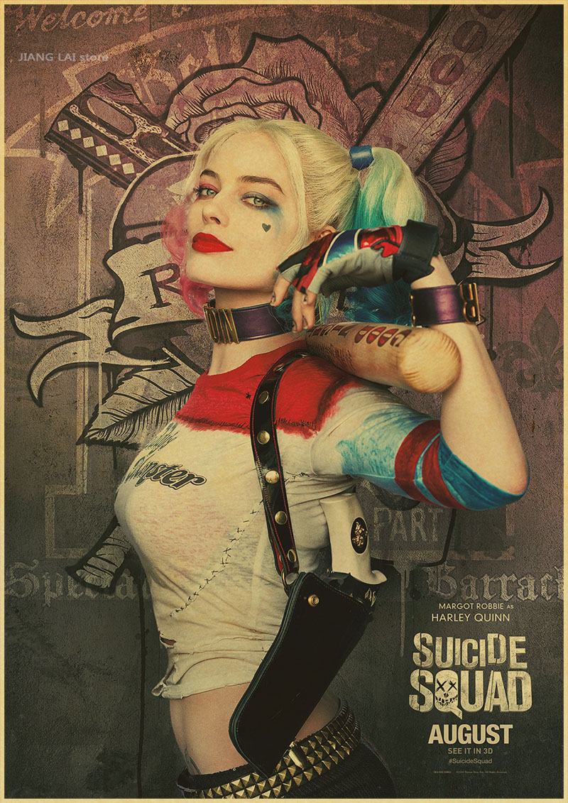 Suicide Squad Margot Robbie Harley Quinn Film vintage Poster Home Decor Painting classic prints