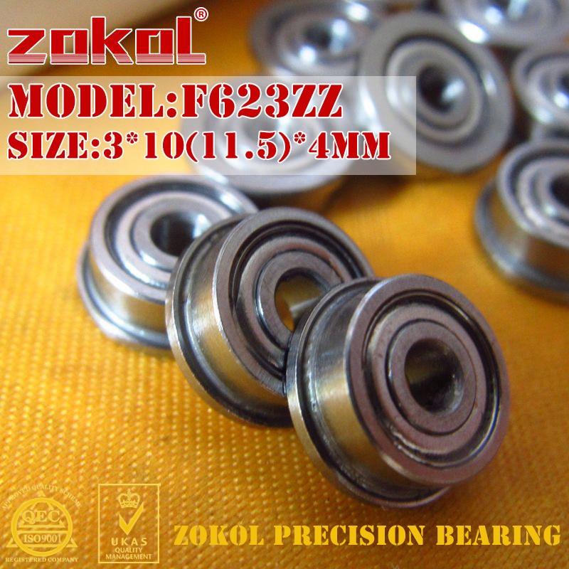 ZOKOL F623 ZZ Bearing F623ZZ Flange Bearing  F623-ZZ Deep Groove Ball Bearing 3*10(11.5)*4mm