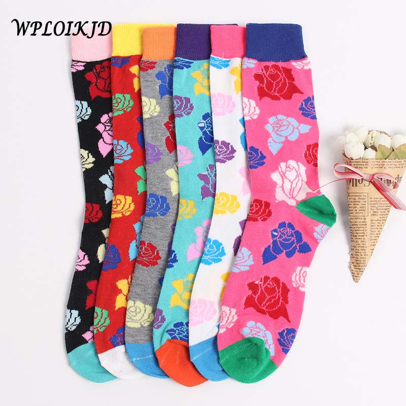[WPLOIKJD]Fashion Pretty Flower Elegant Gradient Socks Men Funny Socks Harajuku Hip Hop Socks Calcetines Hombre