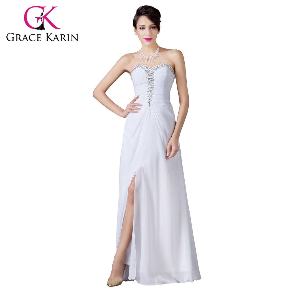 Grace Karin Backless Beyaz Abiye Şifon Örgün Balo elbise Uzun Zarif Ziyafet Yüksek Bölünmüş Düğün Parti Akşam Elbise