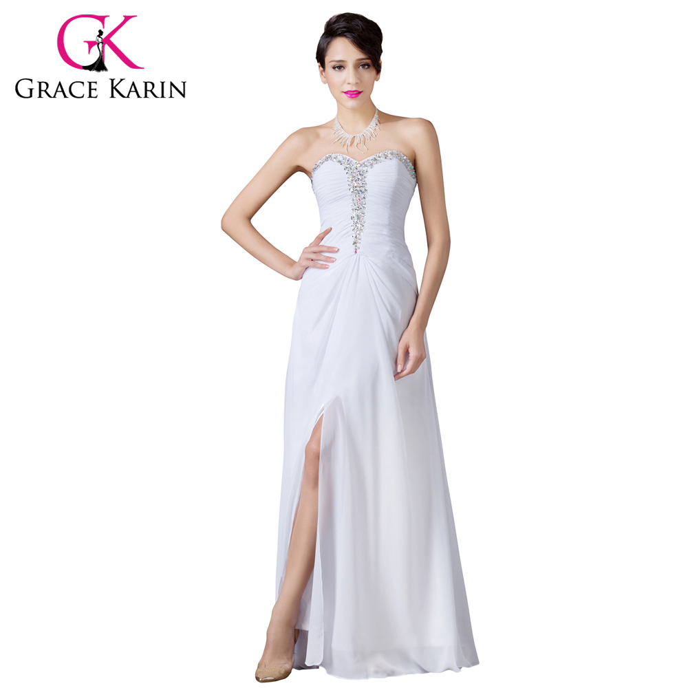 ⑧Grace Karin Backless White Evening Dress Chiffon Formal Prom Gown ...