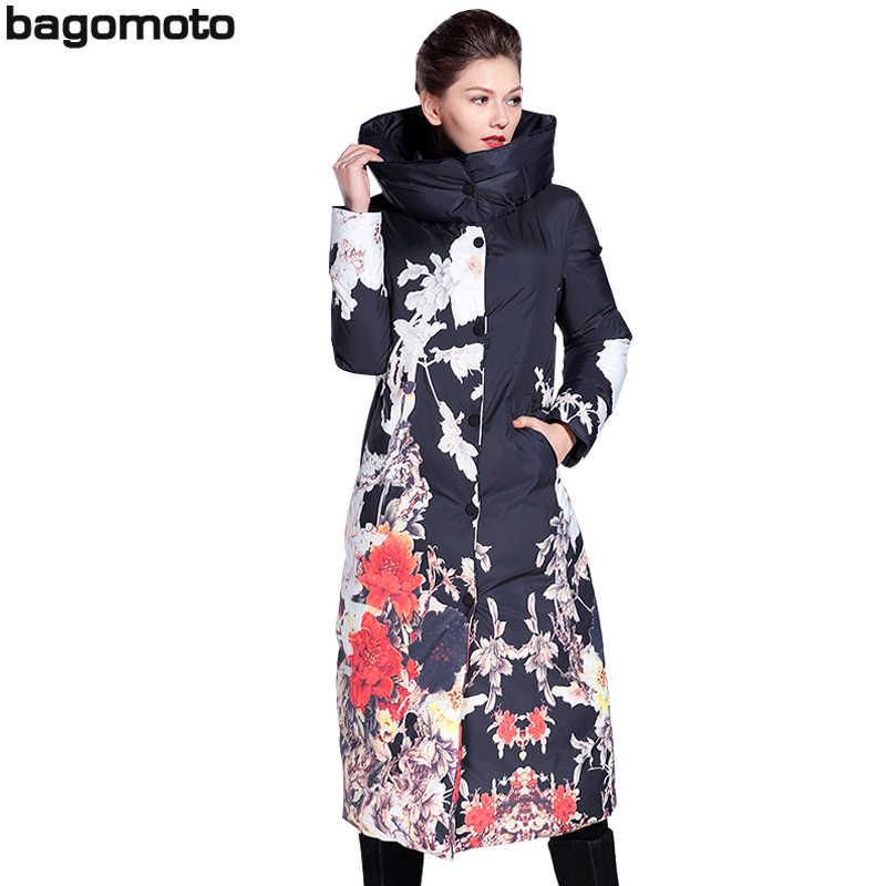 Bagomoto Bloemenprint Winter jas Vrouwen Lange Parka Vrouwen Slanken Winter Jas Vrouwelijke Dikke Warme Jas Overjas