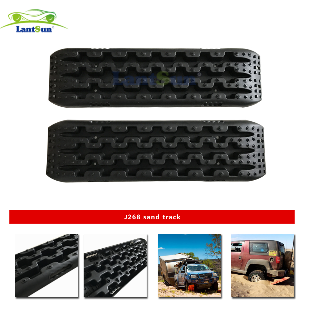 Pair lantsun J268 black pp 10tons Recovery Traction Tracks for 4WD Sand Mud Snow Off Road road to recovery