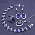Blue Sapphire White Created Topaz Women 925 Sterling Silver Jewelry Sets Earrings/Pendant/Necklace/Rings/Bracelet Free Box S002