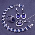 Blue Sapphire White Created Topaz Women 925 Sterling Silver Jewelry Sets Earrings/Pendant/Necklace/Rings/Bracelet Free Box S002