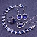 Creado Topacio azul Zafiro Blanco de Las Mujeres 925 Sistemas de La Joyería de Plata de ley Pendientes/Colgante/Collar/Anillos/Pulsera Caja libre S002