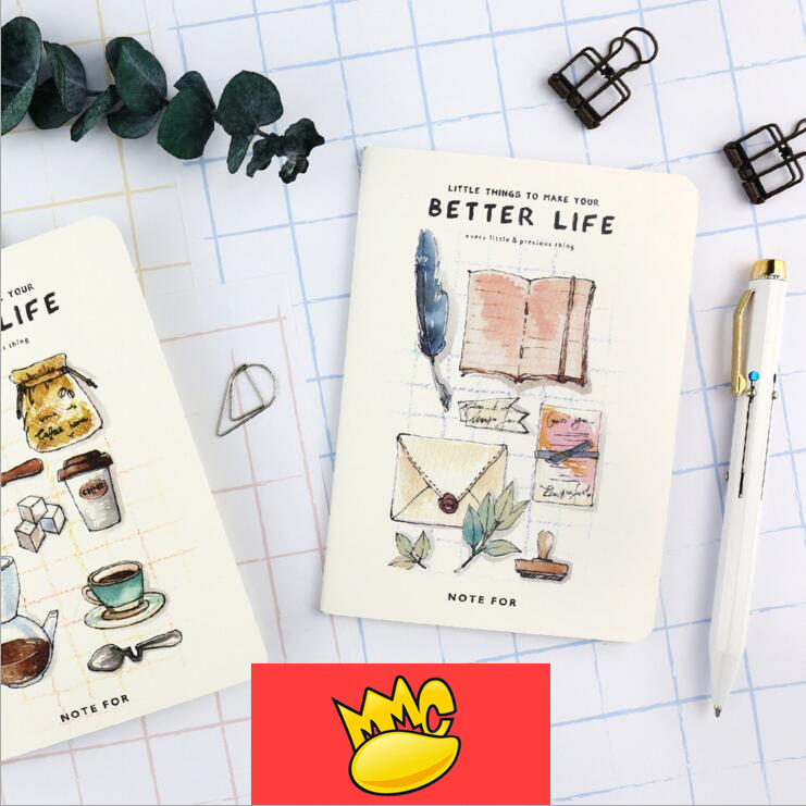 Better Life Mini Journal Notebook Pack of 4 Cute Lined Paper Planner Pocket School Study Travel Notepad Memo Gift