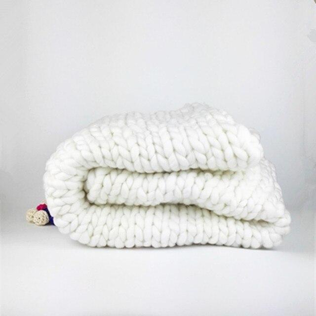 Promo Chunky Knit Blanket Wool Throw Super Bulky Yarn