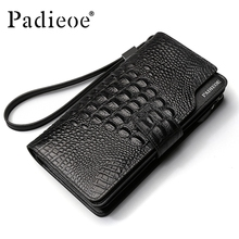 2017 Cow Leather Long Wallet Men Genuine Leather Purse Alligator Pattern Clutch Men Wallet Luxury Brand Pocket Money Bag Male