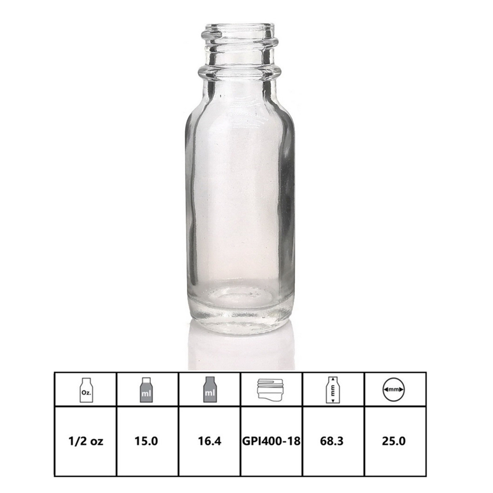 16pcs 1/2 Oz Empty 15ml Clear Glass Dropper Bottle With Glass Eye Droppers For Essential Oils Aromatherapy E Liquid Cigarettes