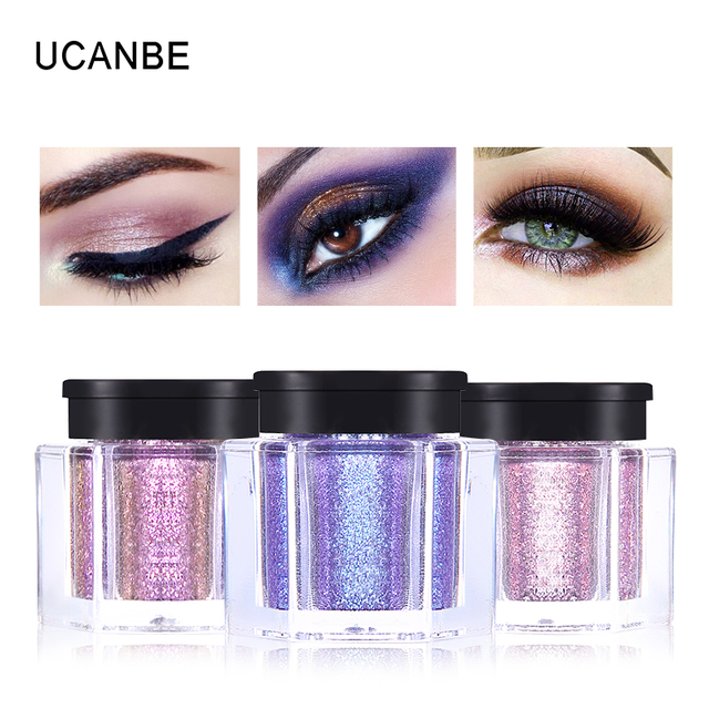 UCANBE Brand Crystal Luster Glitter Eyeshadow Powder Pigment Metallic Shiny Holographic Eye Toppers Single Eye Shadow Makeup 4