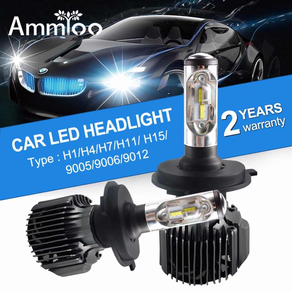AmmToo H4 H7 LED Car Headlight H11 H13 H1 9004 Car LED Bulb Kit Lamp 9005 9006 9012 72W 12000LM Replacement Auto Fog Light Bulb