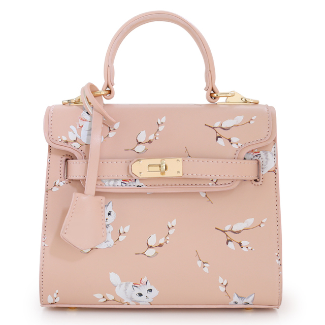 2016 New Sale Bolsas Mujer Small Peekaboo Saddle Faux Leather PU Pink Cat Floral Women's Handbags For Lady  Messenger Bags Totes