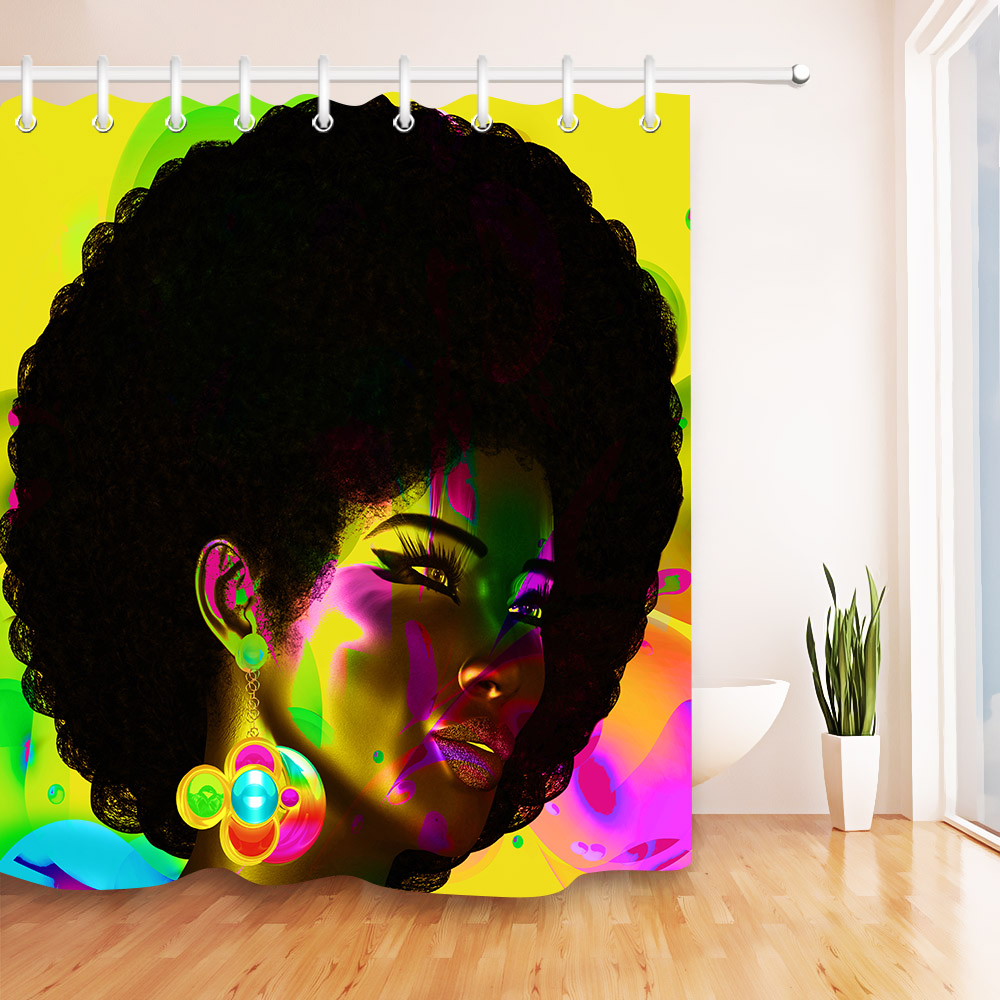make up afro american girl shower