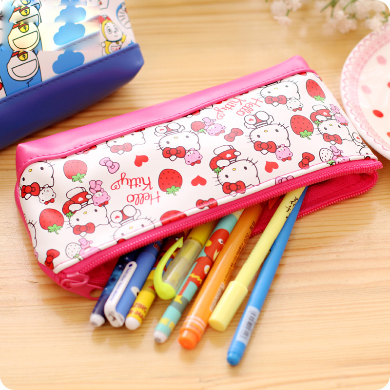 b5a56ae8dd Korean stationery Kawaii Hello kitty pencil case for girls Cute Doraemon PU  leather pencil pouch pen bag office school supplies-in Pencil Cases from  Office ...