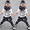 2 шт. Малышей Дети Мальчик Футболки Топы + Брюки Лето Хип до костей Повседневная Костюмы Одежда Набор Новый