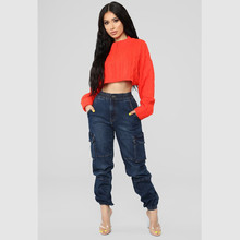 New spring hot fashion hip hop jeans casual zipper loose high waist women's trousers Slim pocket stitching sexy female jeans цена