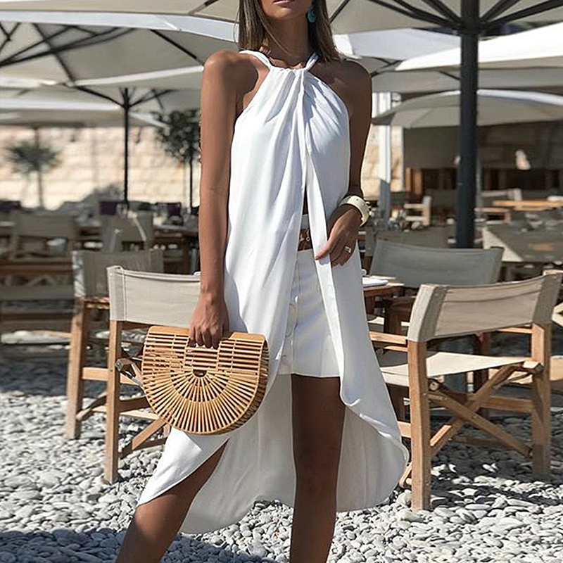 Blesskiss White Halter Sexy Beach Cover Up Women 2019 Summer Sleeveless Swimsuit Coverups Bathing Suit Holiday Beach Swim Wear