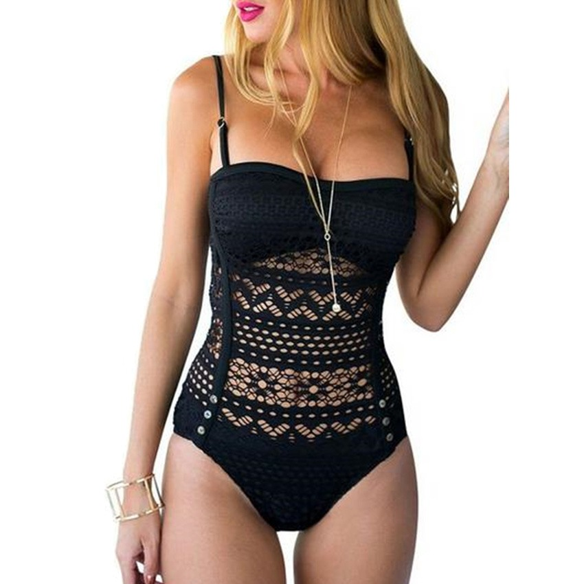 Sexy Black/White/Blue Swimsuit Women Vintage Retro