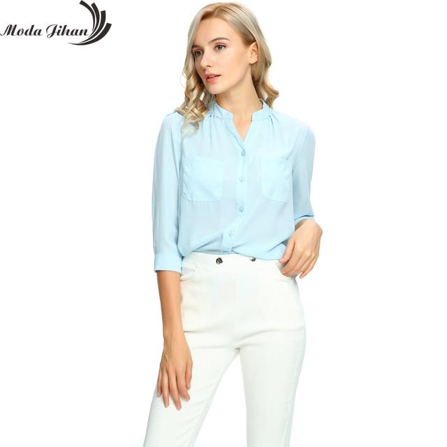 53686b530 Jihan Moda Chiffon Blusas   Camisas Mulheres Blusa Manga 3 4 blusa Mulher  Tops Moda