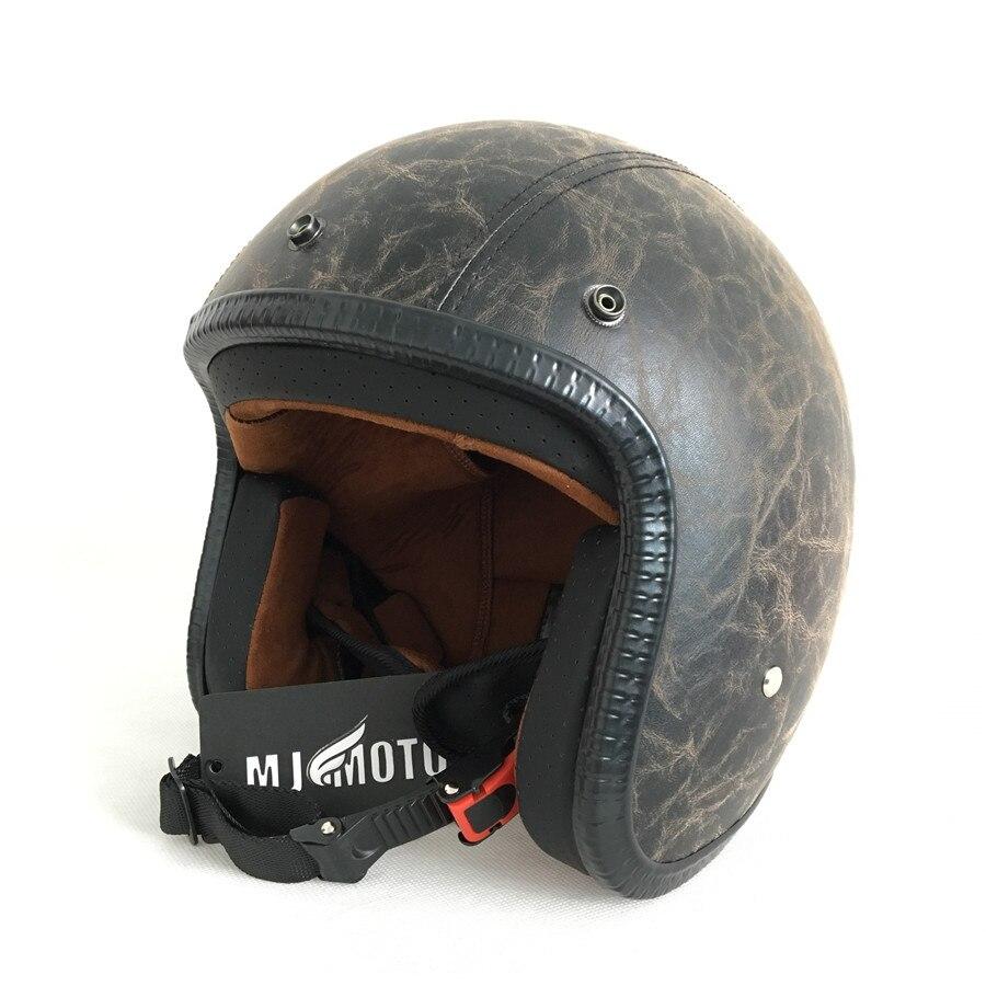 HOT Vintage Leather Motorcycle Helmet Retro Cruiser Chopper Scooter Cafe Racer Moto Helmet 3/4 Open Face Harley Helmet DOT