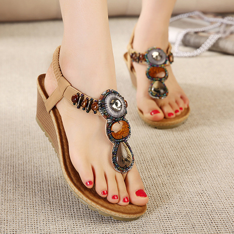 6 CM Women Wedge Sandals Bohemia Gladiator Girls Summer Beach Thick Platform Sandals Casual Sexy 2017 Fashion Flip Flops ABT531 casual bohemia women platform sandals fashion wedge gladiator sexy female sandals boho girls summer women shoes bt574