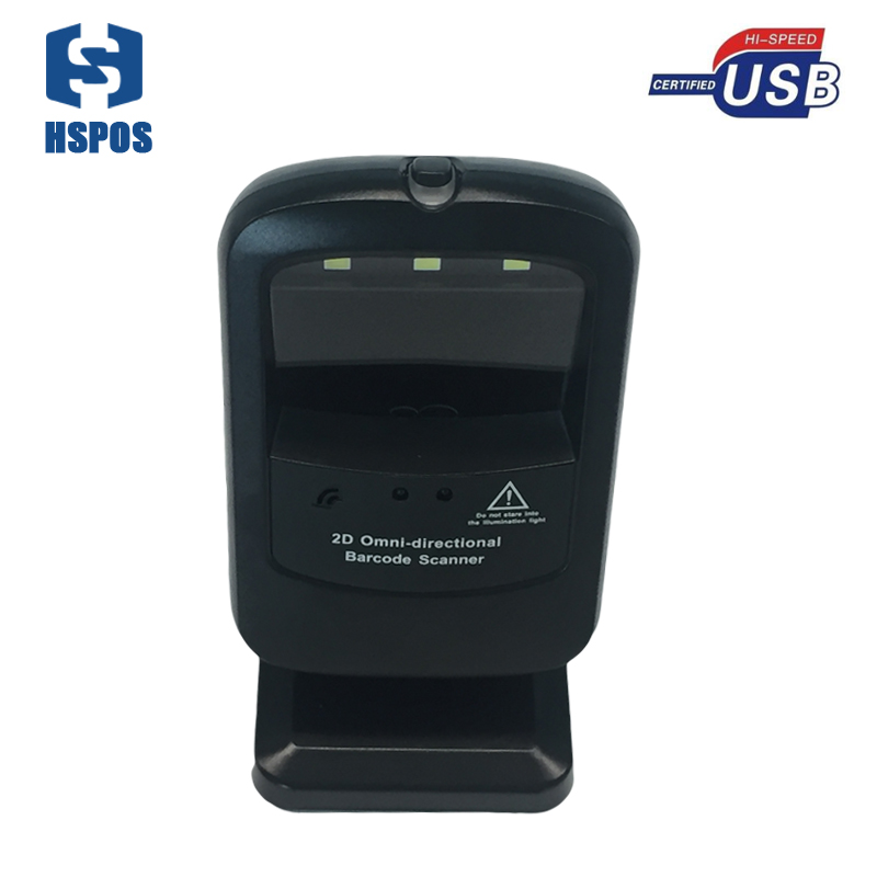 360 degree omnidirectional CMOS 2D barcode reader with steady stand QR scanner support read color code from device display