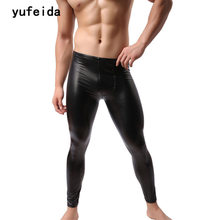 YUFEIDA Fashion Brand New Mens Long Trousers Pouch Pu Club Dance Pants Muscle Tights Leggings Black PU Costoume Clubwear