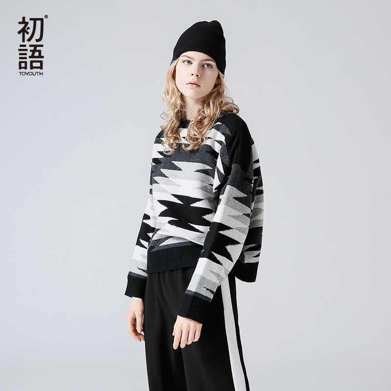 Toyouth Color Block Vintage Knitted sweater Women jumper Long Sleeve Pullover Top Femme 2019 Autumn Winter