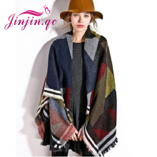 2015 Hot Women Pashmina Wraps High Quality Wool Splice Fashion Poncho Scarves Autumn Winter Warm Scarf