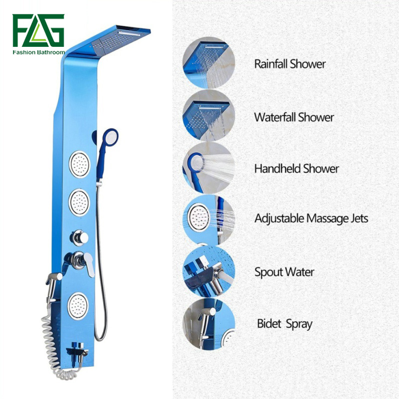 купить FLG English Blue Color 304 Stainless Steel Rainfall Shower Panel Rain Massage System Faucet With Jets Hand Shower Faucet Set онлайн
