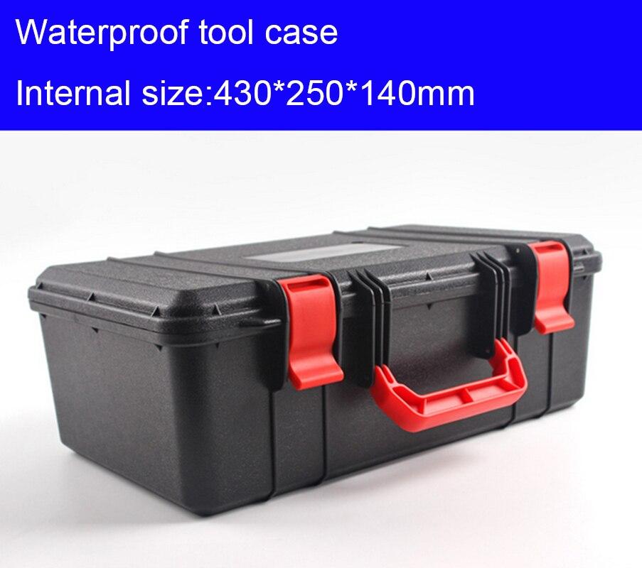 430x250x140 мм пластиковый корпус инструмента Toolbox чемодан ударопрочный инструментария ящик для хранения автомобиля оборудование корпус камеры ...