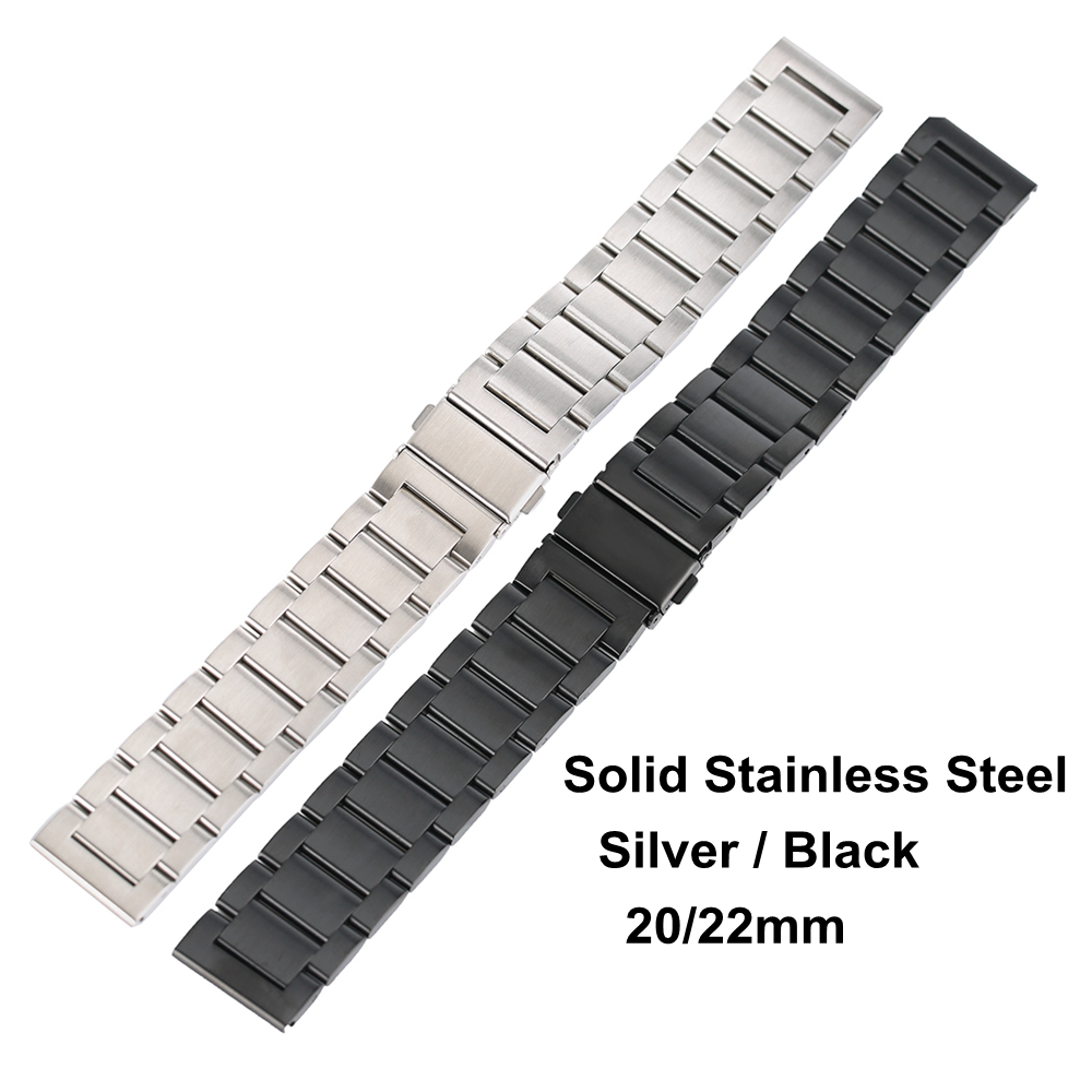 Black/Silver Solid Stainless Steel Watchband Bracelet Clasp 20mm 22mm Watch Band Strap Belt Luxury Watch for carlywet 22 24mm silver solid screw links replaceme 316l stainless steel wrist watch band bracelet strap with double push clasp