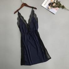 Daeyard Silk Nightgown Women Sexy Lace Lingeries Backless Night Dress Summer Sleeveless Mini Sleepwear Nightshirt Bedgown