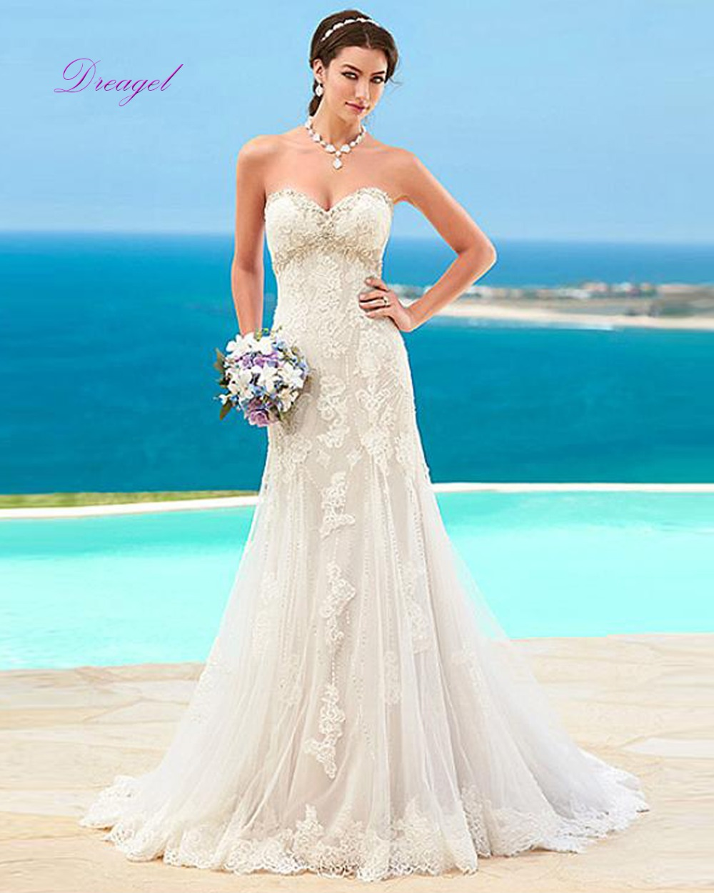 Baratos Simple Y Barato Playa Vestido de Novia 2017 Correas de ...