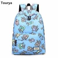 Tourya Casual Women Cute Cartoon Robot Printing Backpack Shoulder School Bag Girls Teenagers Back Pack Travel
