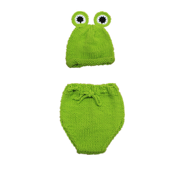 Free Shipping Hand Knitted Baby Photography Props Frog Cartoon Of